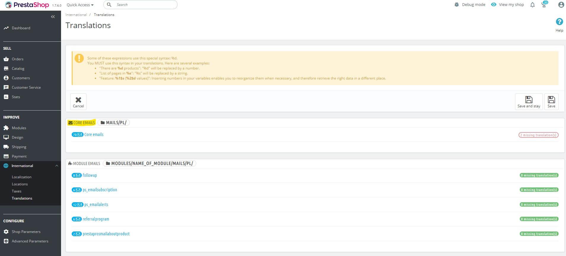 Prestashop 1.7 tłumaczenia maili