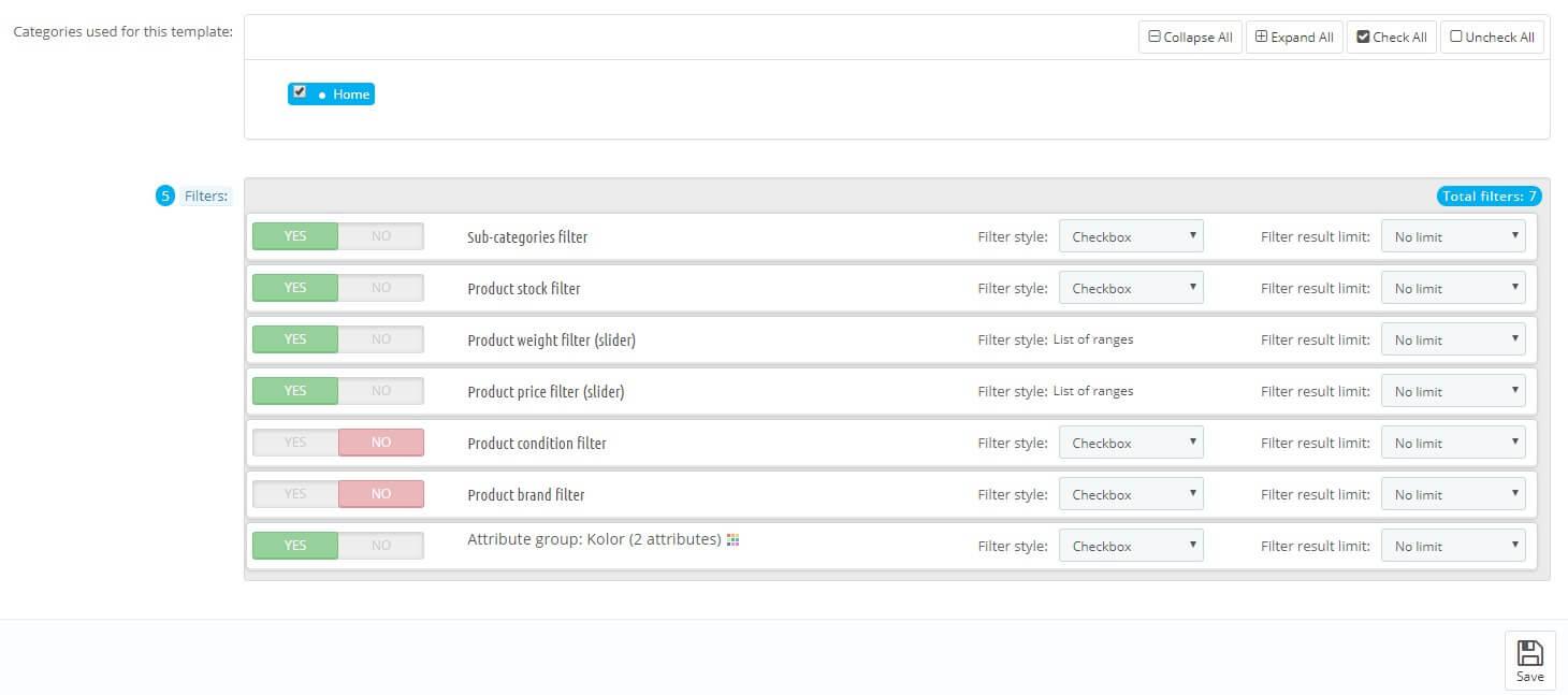 PrestaShop 1.7 edycja szablonow filtrow