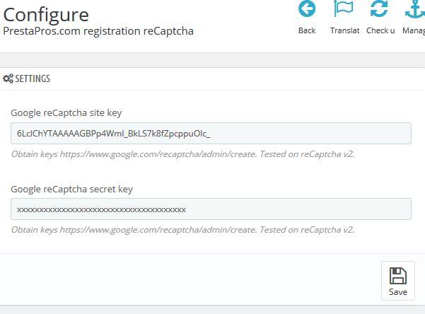 Free module: reCaptcha for PrestaShop registration form